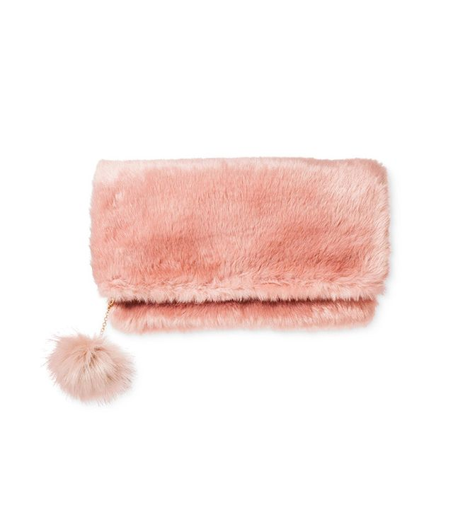 Who What Wear Fur Foldover Clutch
