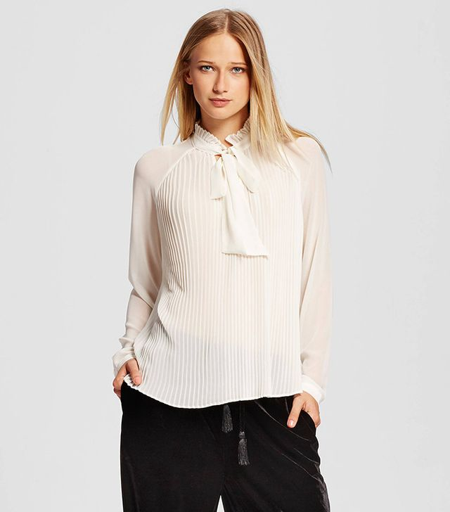 Who What Wear Micro Pleat Bow Blouse