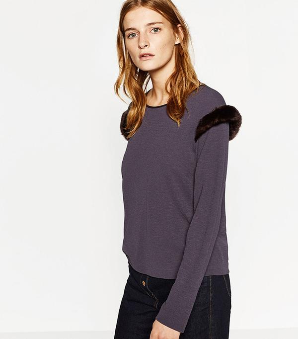 Zara Furry Shoulder Top