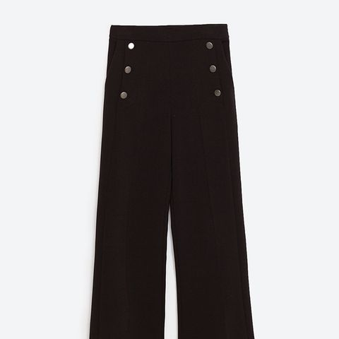 High Rise Cropped Trousers With Buttons