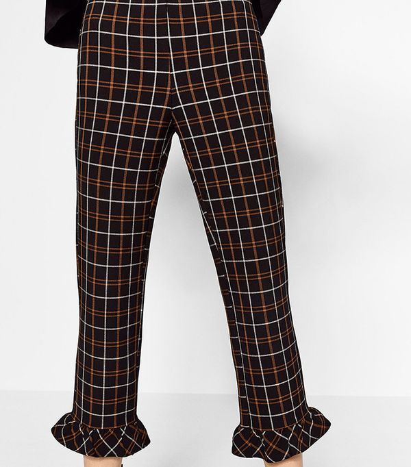 Zara Check Cropped Trousers
