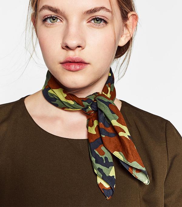 Zara Camouflage Bandana-Style Scarf