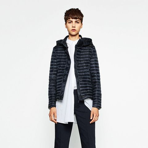 Short Quilted Feather Down Coat