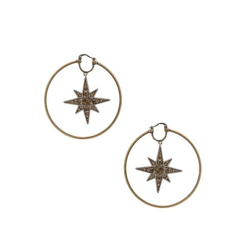 Star Hoop Earrings in Gold & Smoky