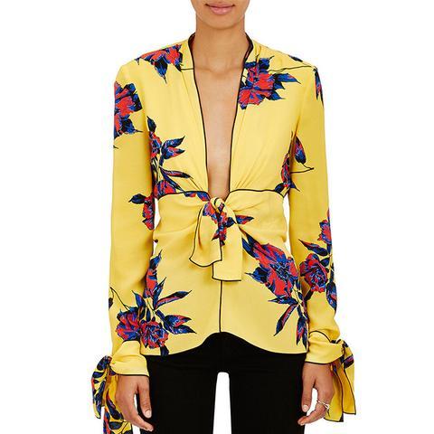 Lily-Print Silk Blouse