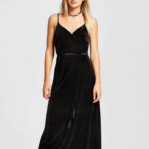 Velvet Wrap Slip Dress