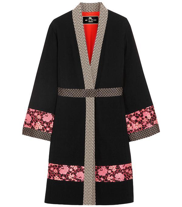 Etro Jacquard-Trimmed Wool-Crepe Jacket