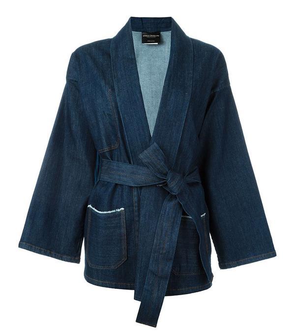 Erika Cavallini 'Gagan' Kimono Wrap Denim Jacket