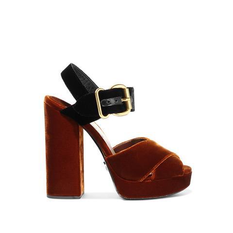 Two-Tone Velvet Sandals