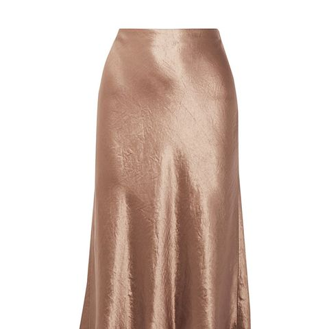 Washed-Satin Midi Skirt
