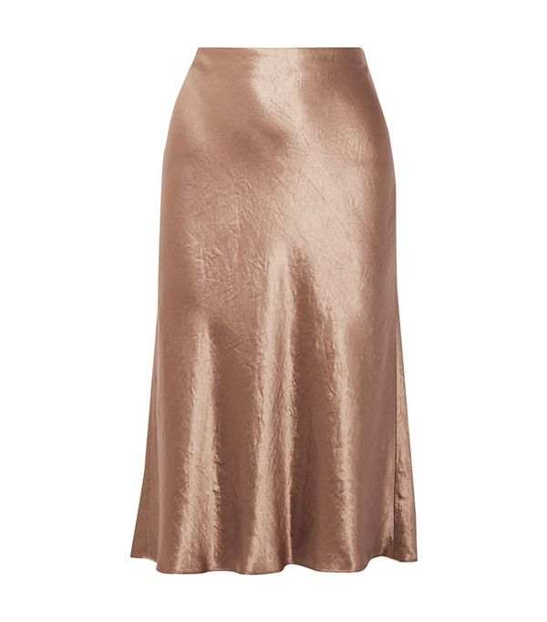 Vince Washed-Satin Midi Skirt