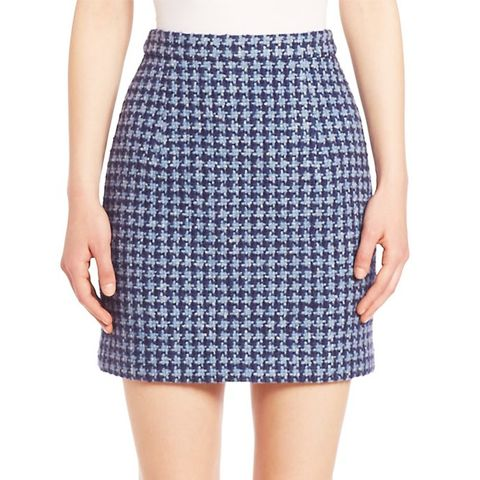 Houndstooth Wool Blend A-Line Skirt