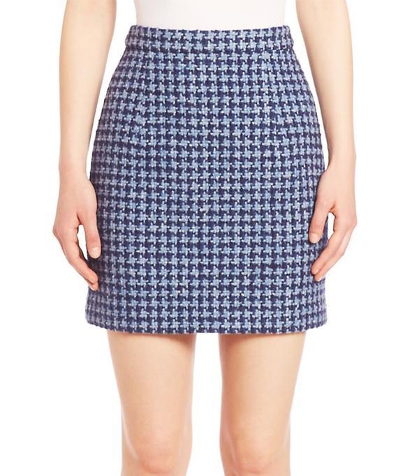 Michael Kors Houndstooth Wool Blend A-Line Skirt