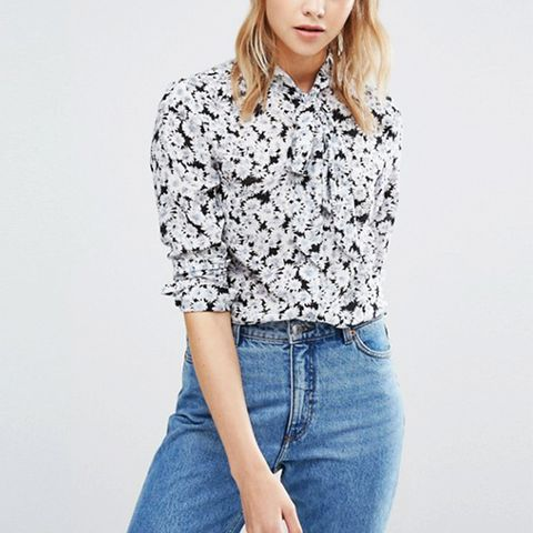 Floral Printed Tie Neck Blouse