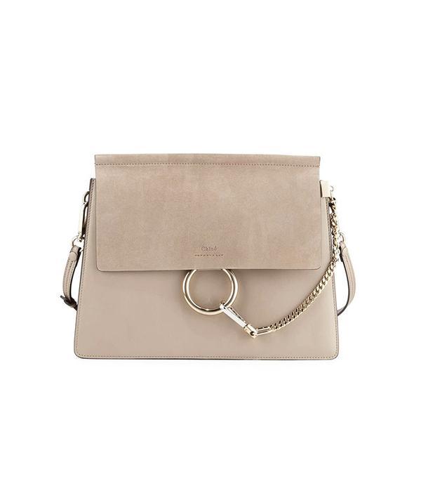Chloé Faye Medium Flap Shoulder Bag Motty Gray