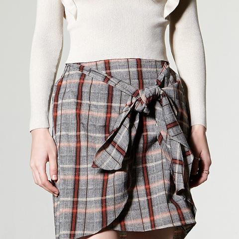 Dula Check Wrap Skirt