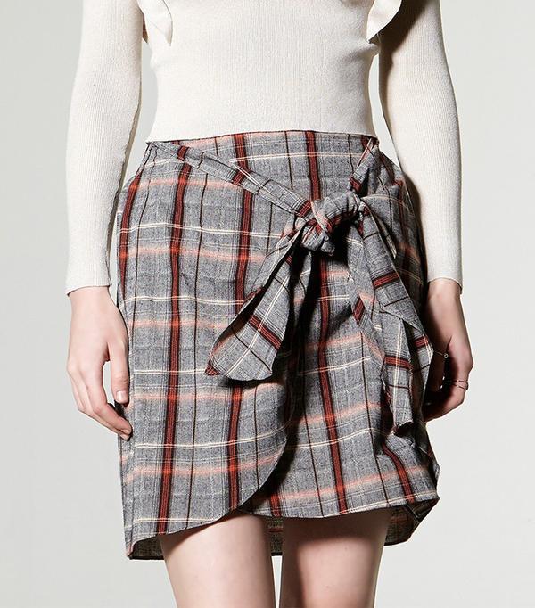 Storets Dula Check Wrap Skirt