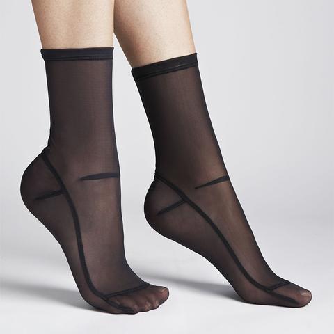 Solid Black Mesh Socks