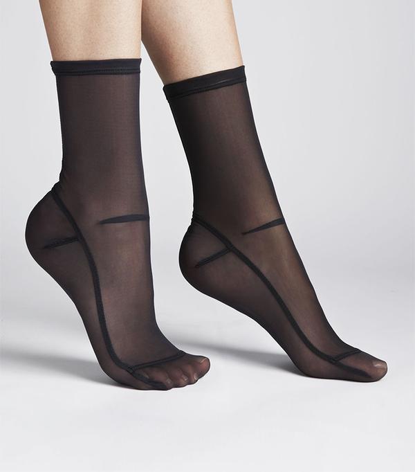 Darner Solid Black Mesh Socks
