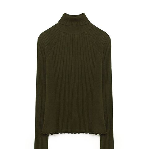 Ribbed High Collar Sweater