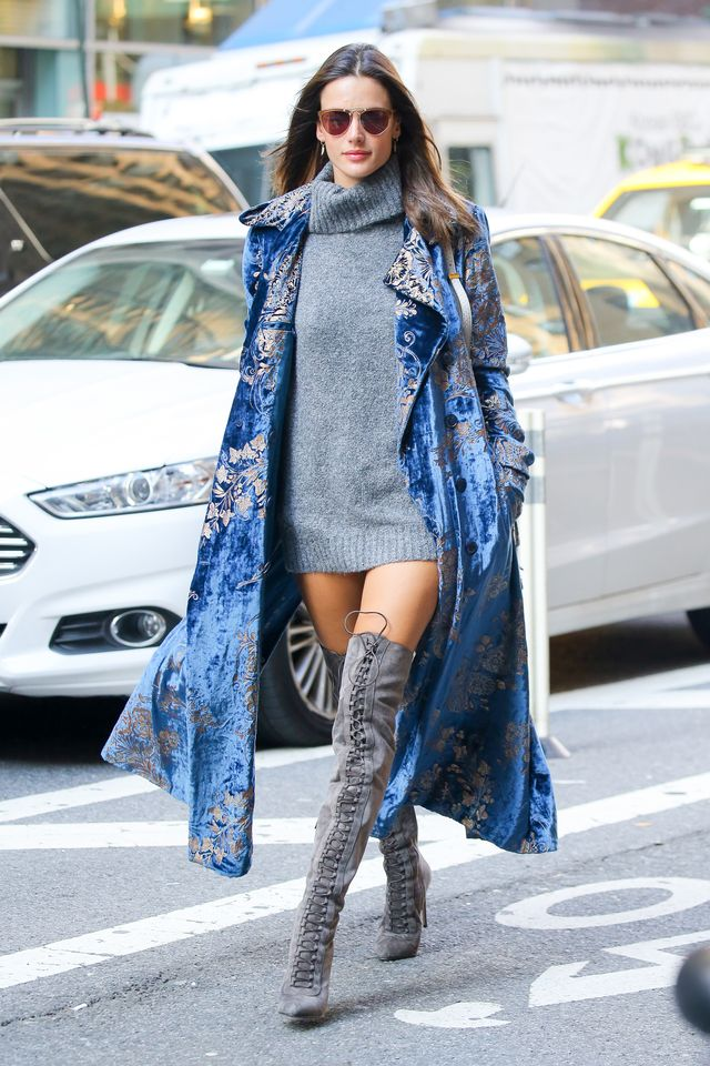 On Alessandra Ambrosio: Lovers + Friends x Revolve Kate Sweater ($168), Ralph Lauren Collection Radford Velvet Coat ($5190), Le Silla Gossip Over The Knee Boot ($1403).
