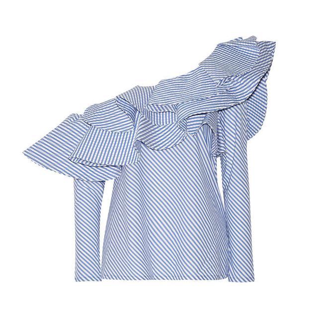 Johanna Ortiz Anastasia One-Shoulder Ruffled Stretch-Cotton Poplin Top