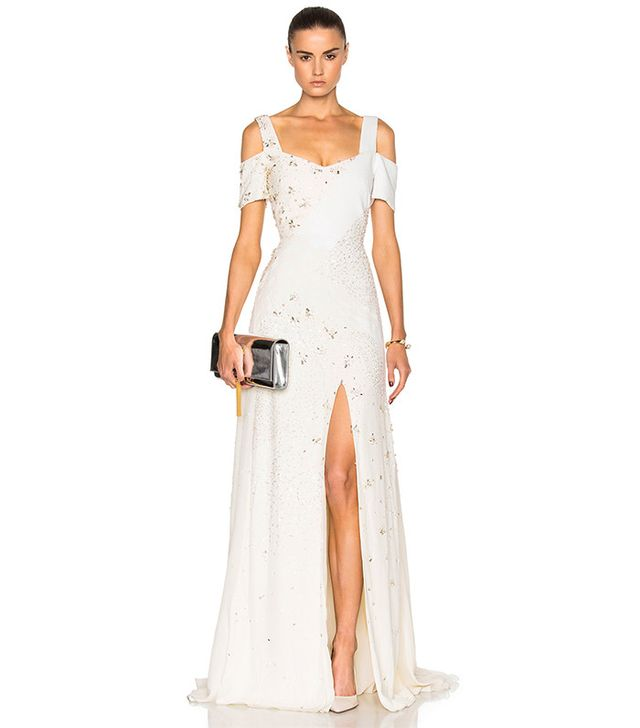 Prabal Gurung Embroidered Cold Shoulder Gown