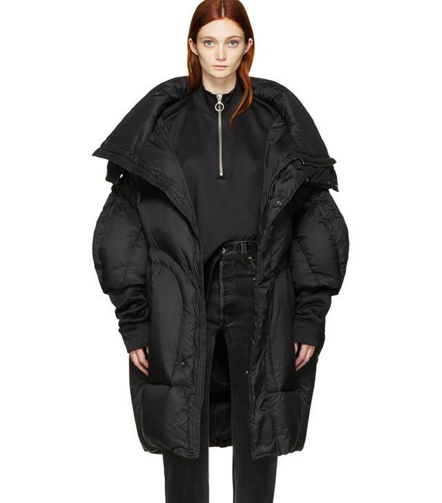 Chen Peng Black Oversized Puffer Jacket