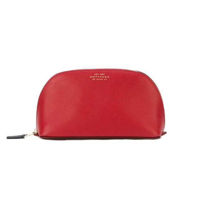 'Panama' make up bag, Red, Leather