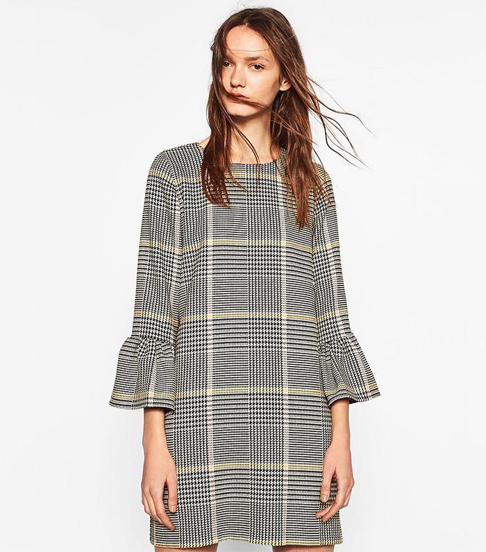Zara Checked Dress With Frill