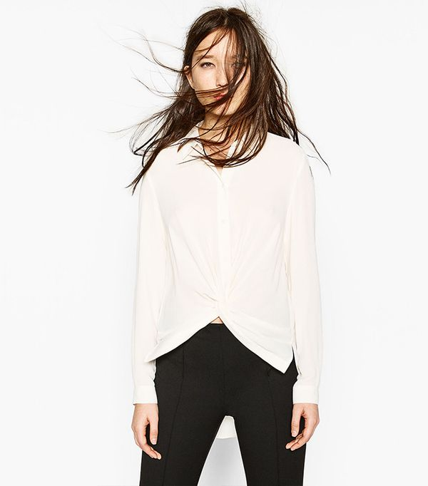 Zara Draped Knot Blouse