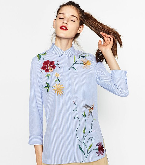 Zara Embroidered Poplin Shirt