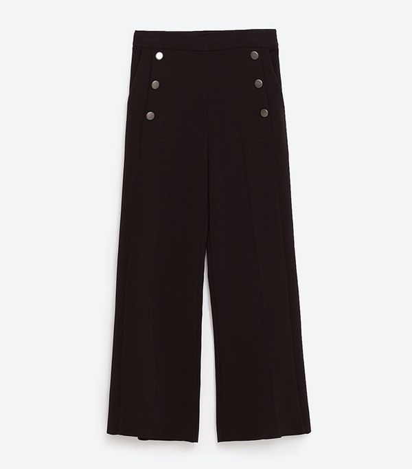 Zara High Rise Cropped Trousers With Buttons
