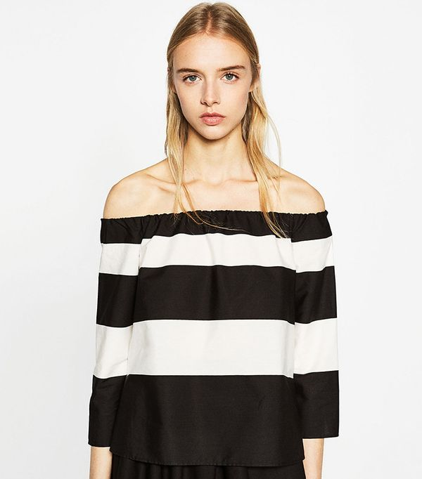 Zara Off-the-Shoulder Striped Blouse