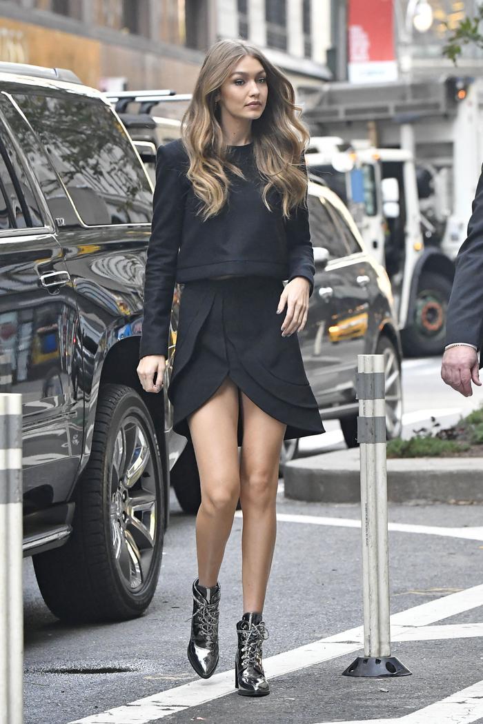 Gigi Hadid wearing stuart weitzman boots in NYC