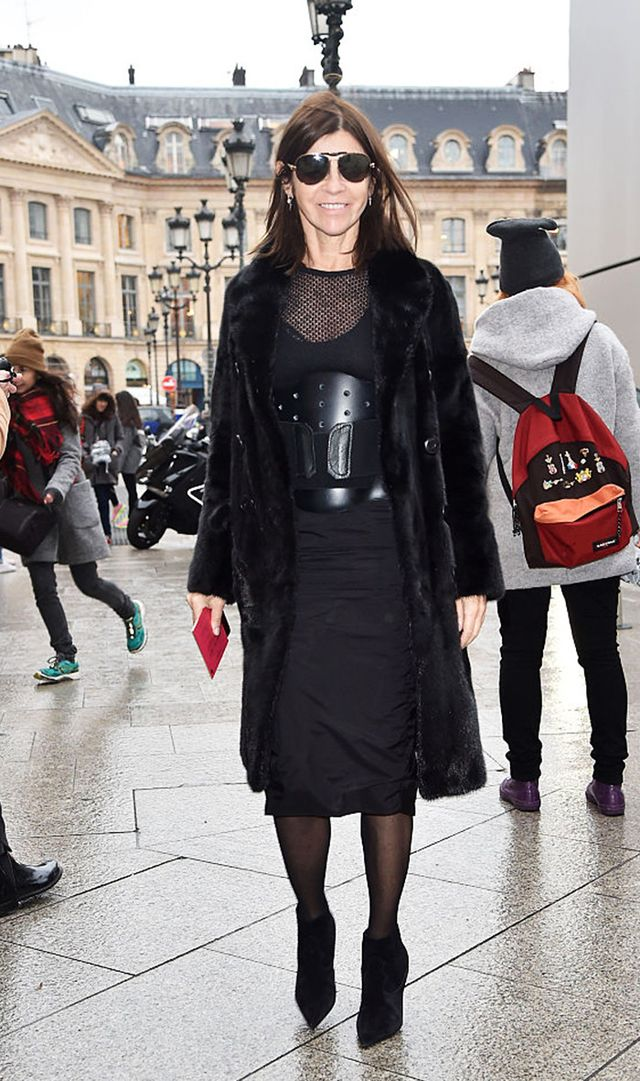 Carine Roitfeld wearing all black in Paris.
