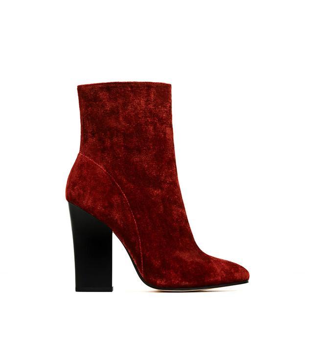 Zara Velvet Ankle Booties