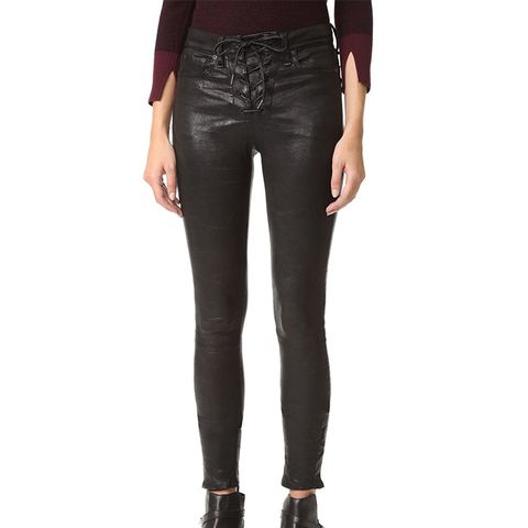 High Rise Lace-Up Leather Pants