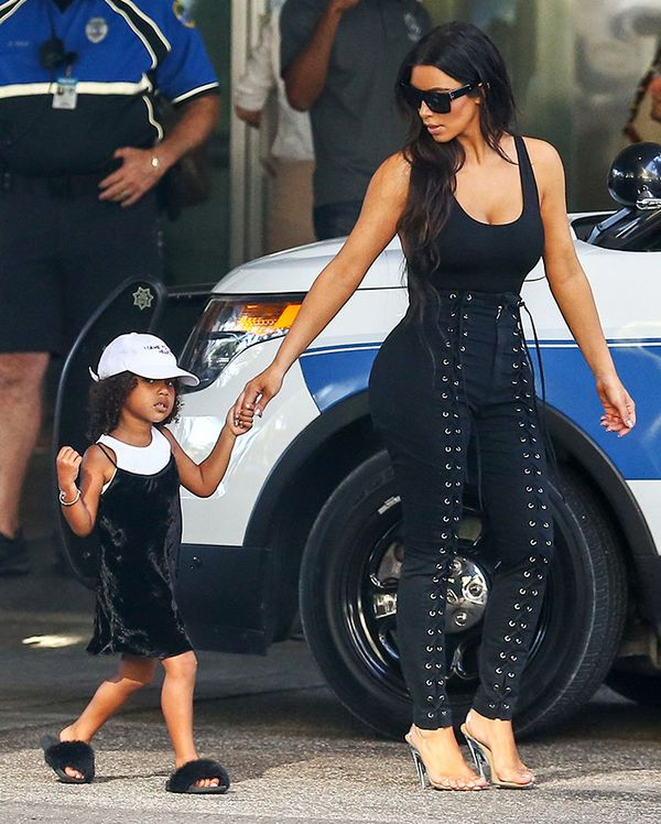 On Kim Kardashian West: Givenchy 58mm Sunglasses ($295); LPA Bodysuit 23 ($98): Yeezy Season 2 heels.
