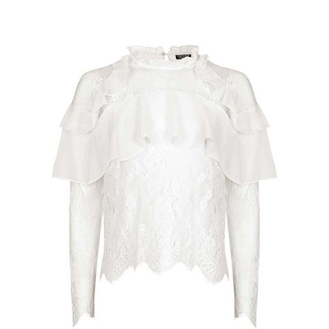 Lace Frill Long Sleeve Blouse