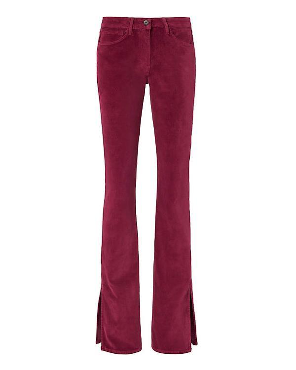 3x1 Split Hem Velvet Bell Pants