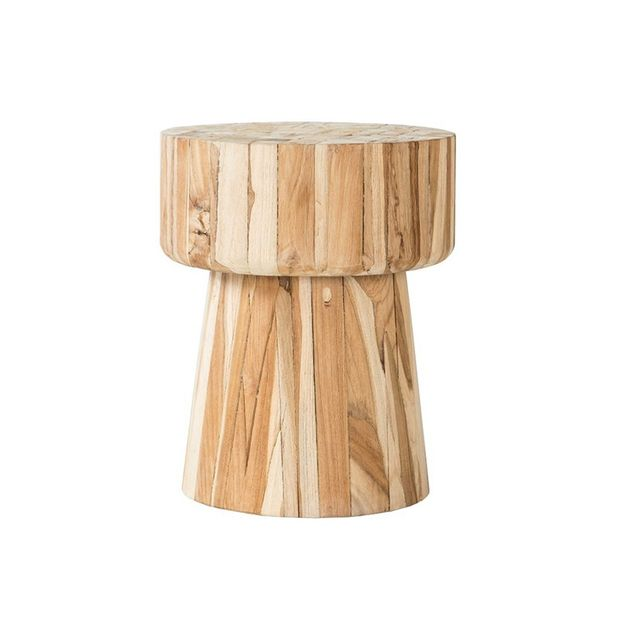 Interior Secrets Reclaimed Teak Cork Wooden Low Stool