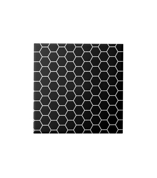 Zazzle Black and White Geometric Tile