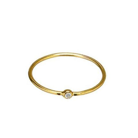 Simple Gold Clear CZ Ring