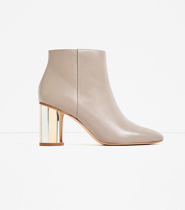 Zara leather Anke Boots with Metal Heel