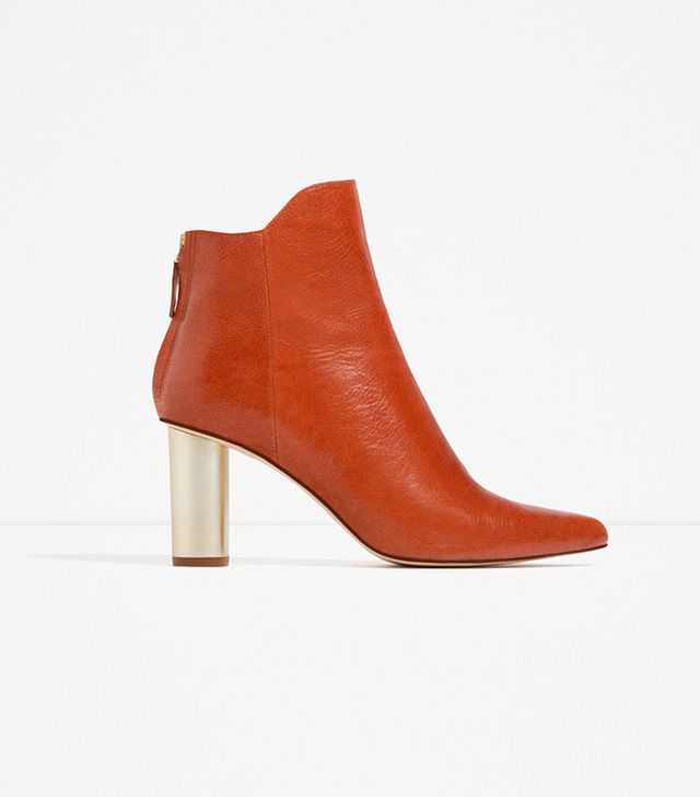 Zara Laminated Leather High Heel Ankle Boots