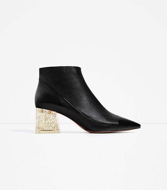 Zara high Heel Leather Ankle Boots With Methacrylate Heel