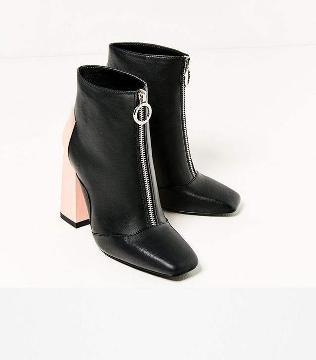 Zara Contrast Heel Ankle Boots