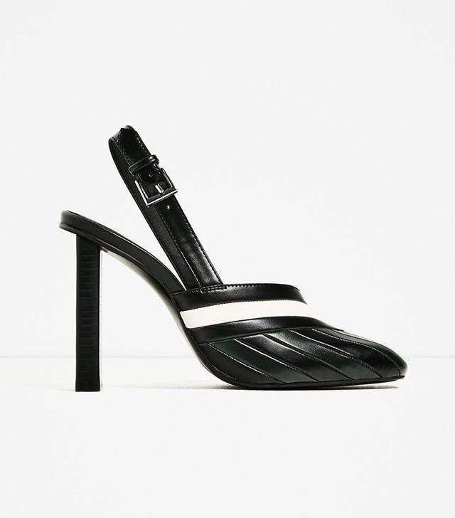 Zara Striped Slingback High Heel Shoes
