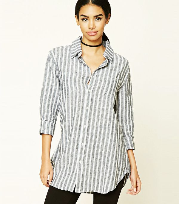 Forever 21 Striped Button-Down Shirt